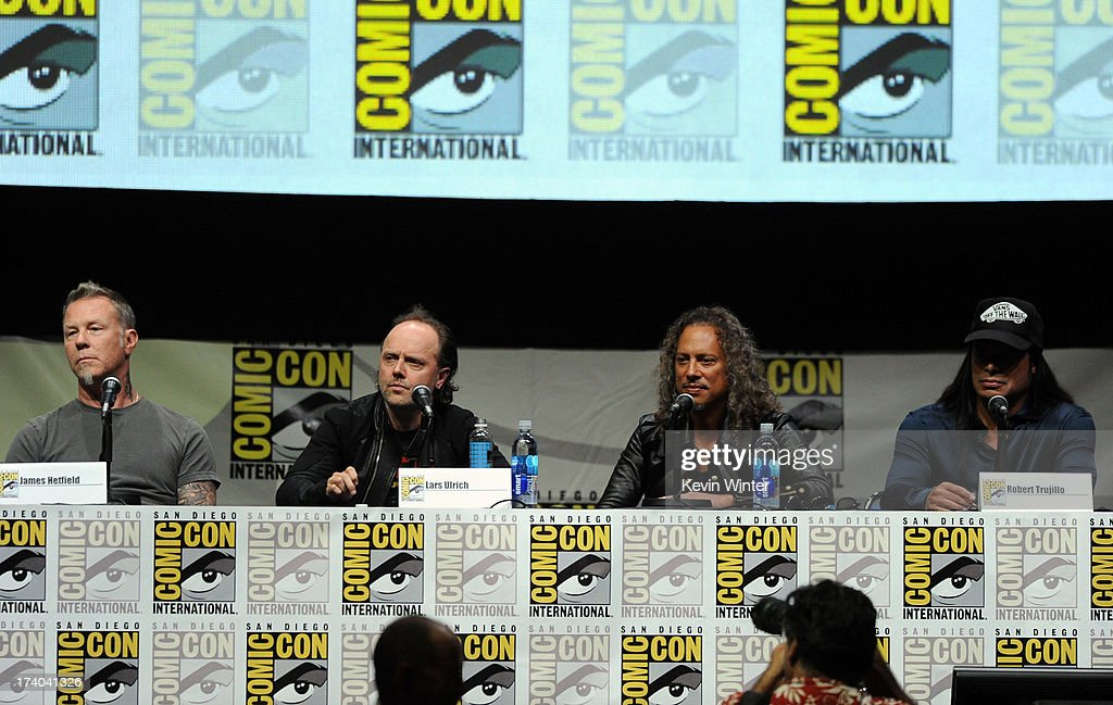 Musicians James Hetfield, Lars Ulrich, Kirk Hammett and Robert Trujillo speak onstage at 'At The Drive-In With Metallica' during Comic-Con International 2013 at San Diego Convention Center on July 19, 2013 in San Diego, California.