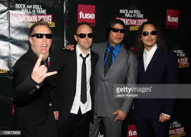 Musicians James Hetfield Lars Ulrich Robert Trujillo and Kirk Hammett of Metallica attend the 24th Annual Rock and Roll Hall of Fame Induction...