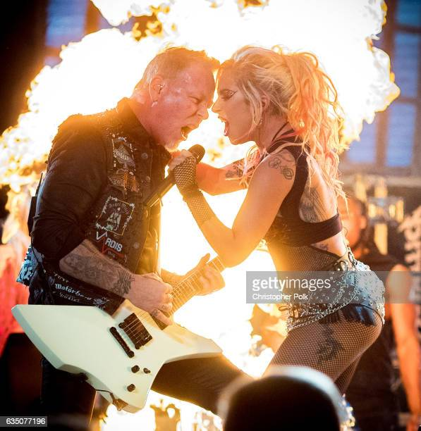 Musicians James Hetfield of Metallica and Lady Gaga during The 59th GRAMMY Awards at STAPLES Center on February 12 2017 in Los Angeles California