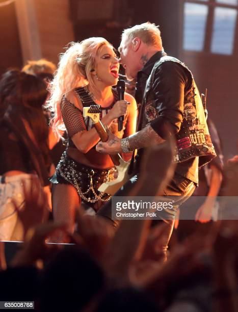 Musicians James Hetfield of Metallica and Lady Gaga perform onstage during The 59th GRAMMY Awards at STAPLES Center on February 12 2017 in Los...