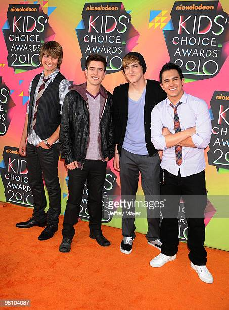 Musicians James Maslow Kendall Schmidt Carlos Pena and Logan Henderson of Big Time Rush arrive at Nickelodeon's 23rd Annual Kid's Choice Awards at...