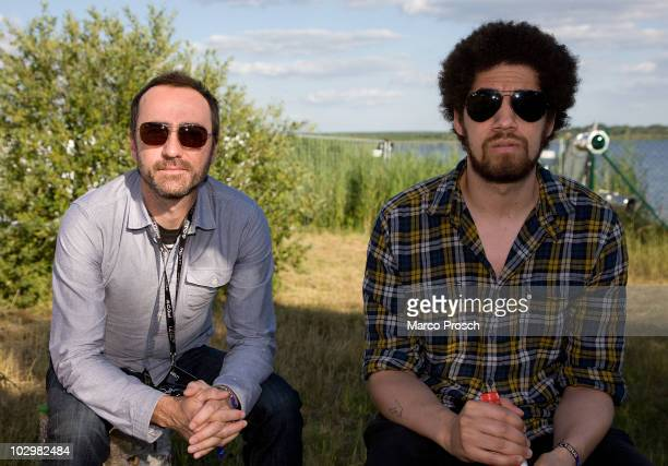 Musicians James Mercer and Brian Burton aka Danger Mouse of indierock band Broken Bells poses backstage at the Melt festival in Ferropolis on July 18...