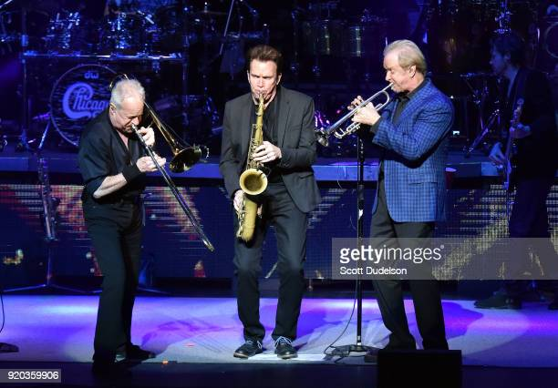 Musicians James Pankow, Ray Herrmann and Lee Loughnane of the classic rock band Chicago perform onstage at the Thousand Oaks Civic Arts Plaza on...