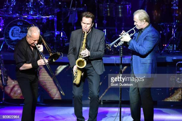 Musicians James Pankow Ray Herrmann and Lee Loughnane of the classic rock band Chicago perform onstage at the Thousand Oaks Civic Arts Plaza on...