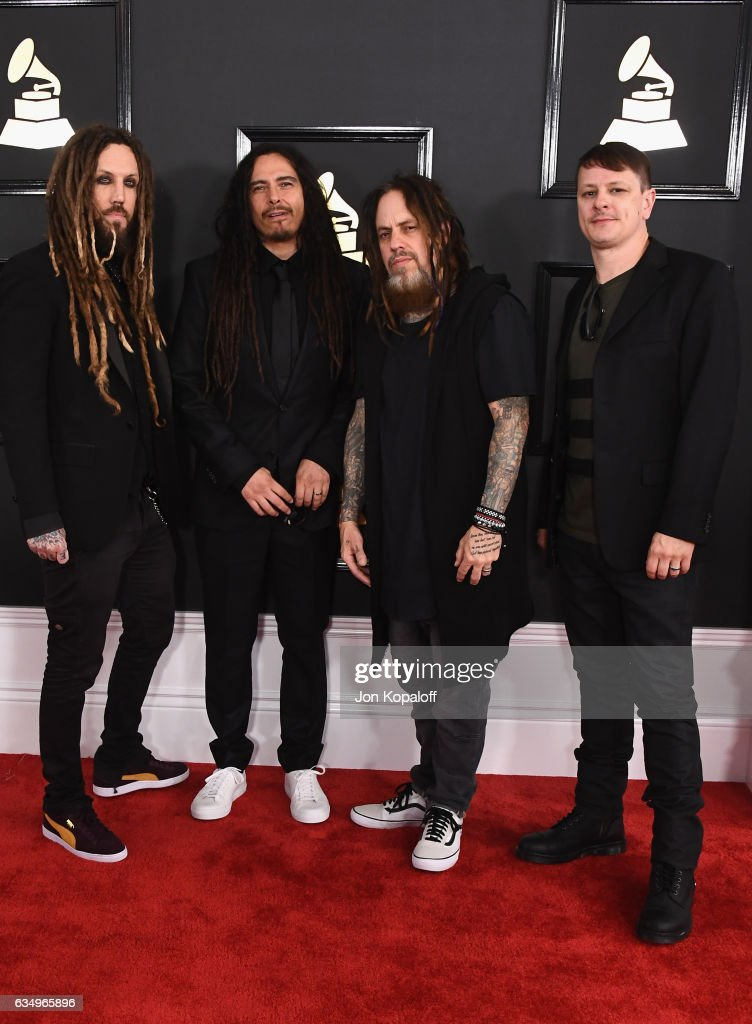 Musicians James Shaffer, Brian Welch, Reginald Arvizu and Ray Luzier of Korn attend The 59th GRAMMY Awards at STAPLES Center on February 12, 2017 in Los Angeles, California.