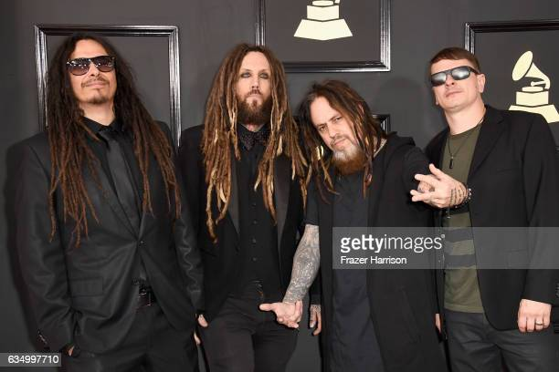 Musicians James Shaffer Brian Welch Reginald Arvizu and Ray Luzier of Korn attend The 59th GRAMMY Awards at STAPLES Center on February 12 2017 in Los...
