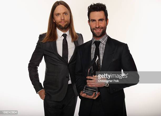 Musicians James Valentine and Adam Levine of Maroon 5 pose for a portrait during the 39th Annual People's Choice Awards at Nokia Theatre LA Live on...