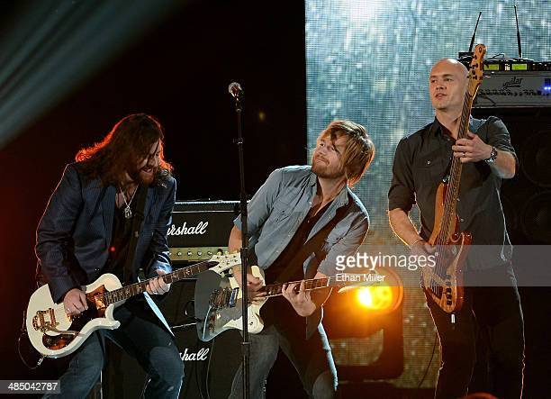 Musicians James Young Cole Richardson and Jon Jones of the Eli Young Band perform during ACM Presents An AllStar Salute To The Troops at the MGM...