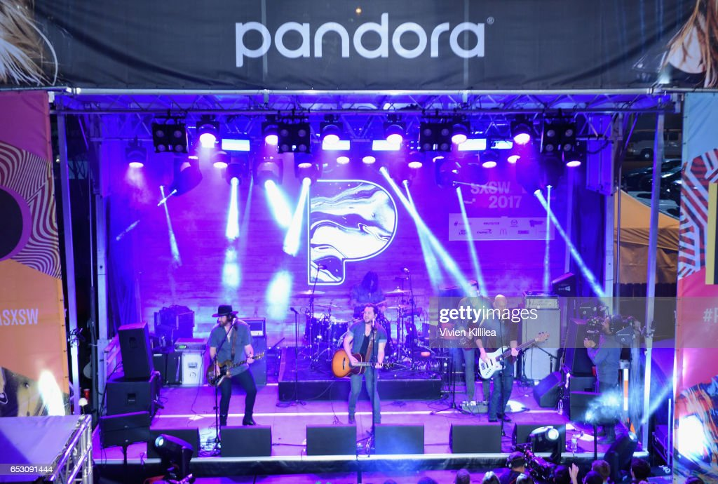 Musicians James Young, Jon Jones, Mike Eli and Chris Thompson of Eli Young Band perform onstage during Pandora at SXSW 2017 on March 13, 2017 in Austin, Texas.