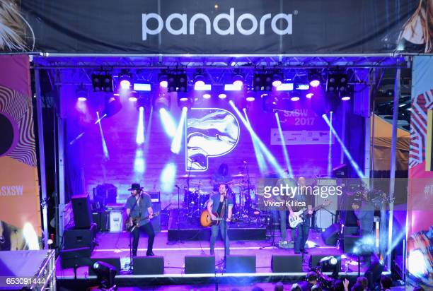 Musicians James Young Jon Jones Mike Eli and Chris Thompson of Eli Young Band perform onstage during Pandora at SXSW 2017 on March 13 2017 in Austin...