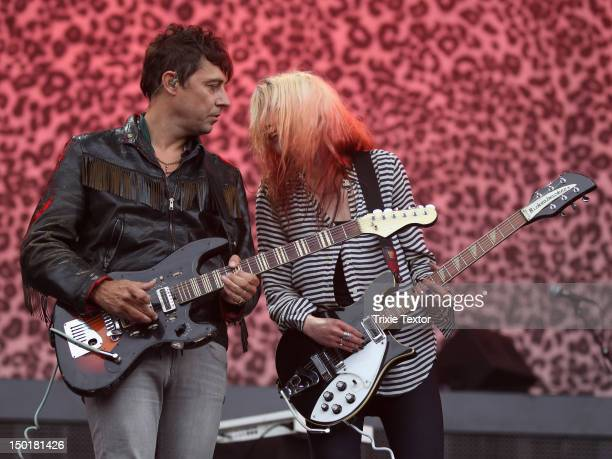 Musicians Jamie Hince and Alison Mosshart of the band The Kills perform at the Lands End Stage during Day 2 of the 2012 Outside Lands Music Festival...