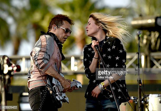 Musicians Jamie Hince and Alison Mosshart of The Kills perform onstage during day 1 of the 2016 Coachella Valley Music Arts Festival Weekend 2 at the...