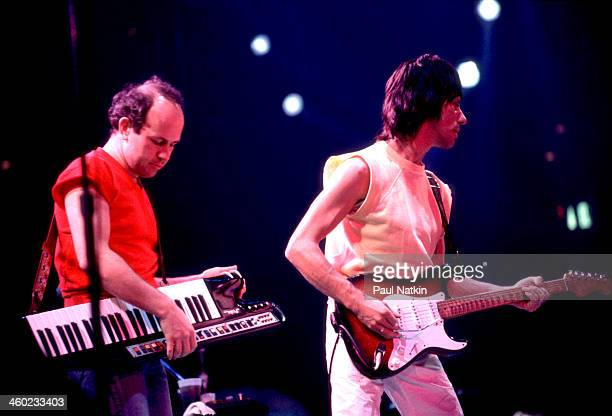 Musicians Jan Hammer and Jeff Beck perform on stage during an ARMS Charity Concert, Dallas, Texas, November 27, 1983.