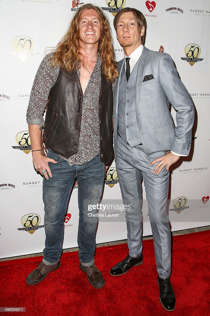 Musicians Jared James Nichols (L) and Rick Barrio Dill arrive at the Sunset Marquis Hotel 50th anniversary birthday bash at Sunset Marquis Hotel & Villas on November 16, 2013 in West Hollywood, California.