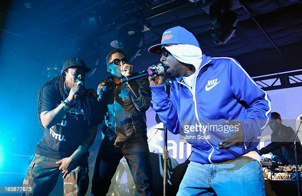 Musicians Jarobi White QTip Phife Dawg and Ali Shaheed Muhammad of A Tribe Called Quest perform as Samsung Galaxy Sound Stage presents A Tribe Called...