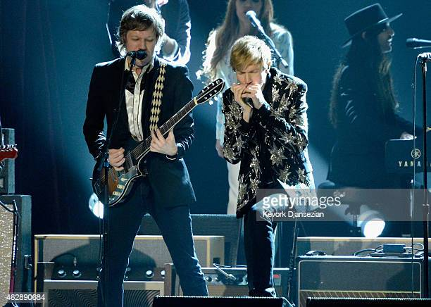 Musicians Jason Falkner and Beck perform onstage at the 25th anniversary MusiCares 2015 Person Of The Year Gala honoring Bob Dylan at the Los Angeles...