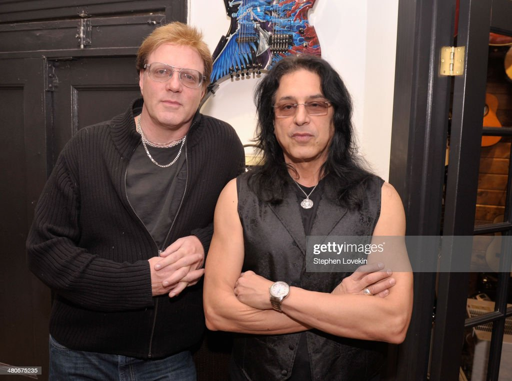 Musicians Jay Jay French and Eddie Ojeda of Twisted Sister attend the D'Angelico Guitar Auction Press Preview at GTR Showroom on March 25, 2014 in New York City.