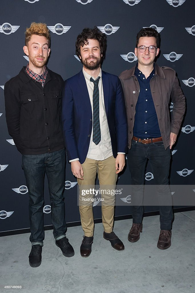 Musicians Jeff Appruzzese, Michael Angelakos and Ian Hultquist of Passion Pit attend as MINI Cooper unveils newest addition to the MINI fleet during Los Angeles Auto Show at Kim Sing Theatre on November 19, 2013 in Los Angeles, California.