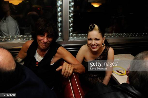 Musicians Jeff Beck and Imelda May attend the after party at Les Paul's 95th Birthday with Special Intimate Performance at Iridium Jazz Club on June...