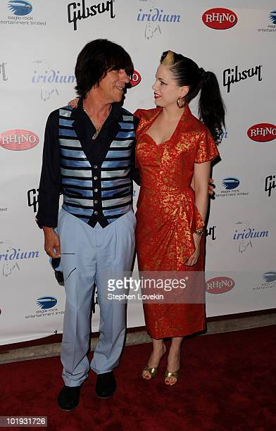 Musicians Jeff Beck and Imelda May attend the after party for Les Paul's 95th Birthday with Special Intimate Performance at Iridium Jazz Club on June...