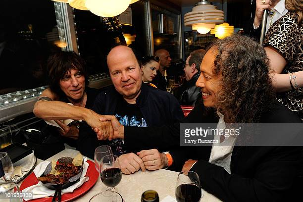 Musicians Jeff Beck, Jan Hammer and Kirk Hammett attend the after party at Les Paul's 95th Birthday with Special Intimate Performance at Iridium Jazz...