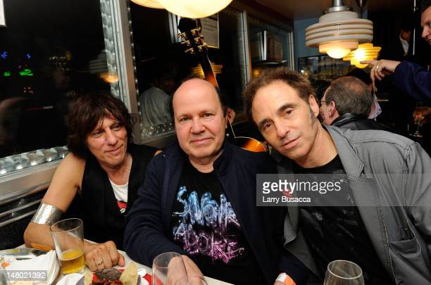 Musicians Jeff Beck Jan Hammer and Nils Lofgren attends the after party at Les Paul's 95th Birthday with Special Intimate Performance at Iridium Jazz...