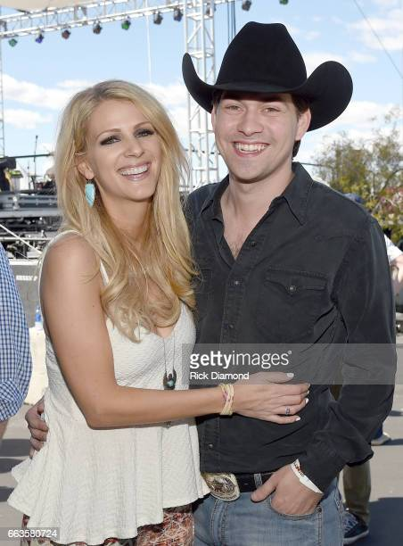 Musicians Jennifer Wayne of Runaway June and William Michael Morgan at the ACM Party For A Cause Tailgate Party on April 1 2017 in Las Vegas Nevada