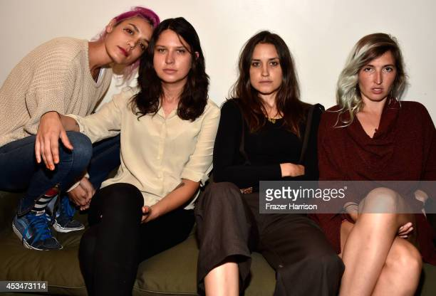 Musicians Jenny Lee Lindberg Stella Mozgawa Theresa Wayman and Emily Kokal of Warpaint attend the screening of A Girl Walks Home Alone at Night with...
