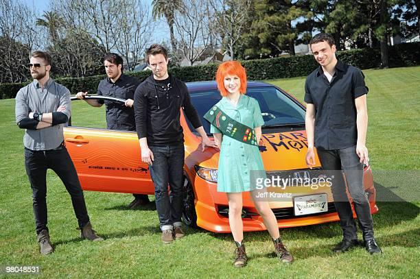 TORRANCE CA MARCH 11 *EXCLUSIVE COVERAGE* Musicians Jeremy Davis Zac Farro Josh Farro Hayley Williams and Taylor York of Paramore kick off the 2010...