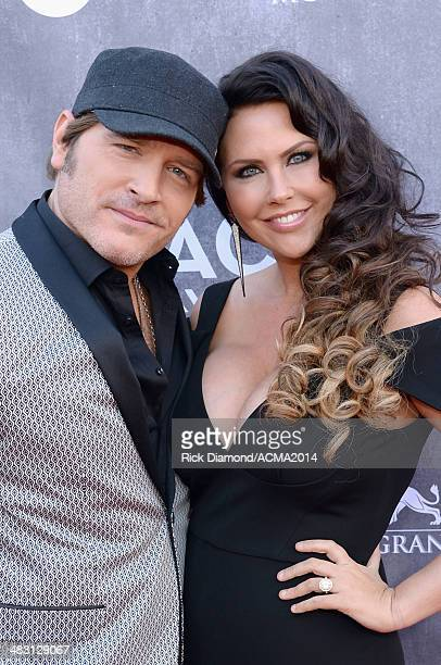 Musicians Jerrod Niemann and Morgan Petek attends the 49th Annual Academy of Country Music Awards at the MGM Grand Garden Arena on April 6 2014 in...