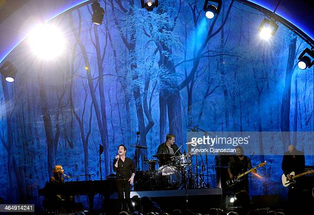 Musicians Jerry Becker Pat Monahan Scott Underwood Hector Maldonado and Jimmy Stafford perform onstage at The 2014 MusiCares Person Of The Year Gala...