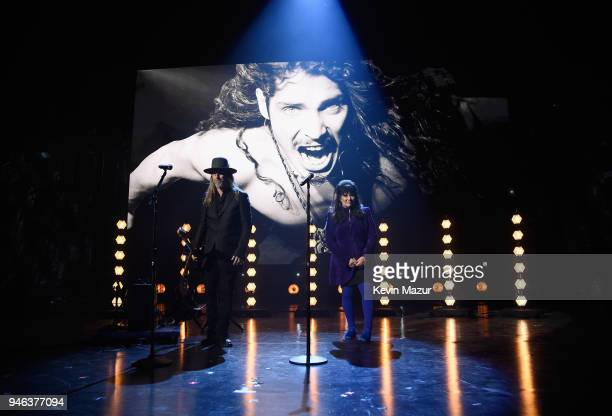 Musicians Jerry Cantrell and Ann Wilson pay tribute to Chris Cornell during the 33rd Annual Rock Roll Hall of Fame Induction Ceremony at Public...