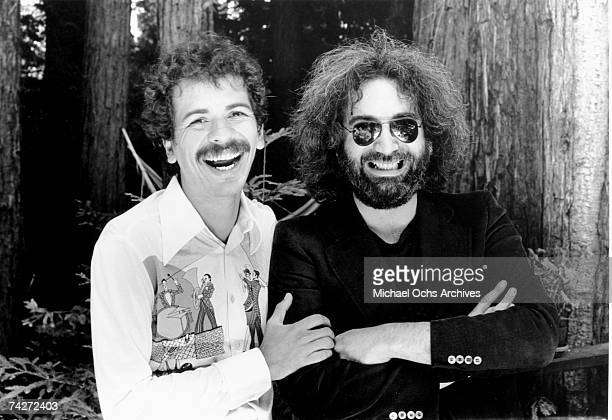 Musicians Jerry Garcia and Carlos Santana pose for a portrait in 1976 in Mill Valley California