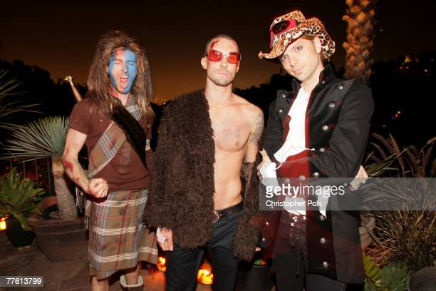 Musicians Jesse Carmichael Adam Levine and James Valentine attend Maroon 5's Halloween Party sponsored by Bacardi on October 31 2007 in Los Angeles...