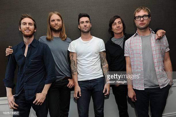 Musicians Jesse Carmichael James Valentine Adam Levine Matt Flynn and Michael Madden of the band Maroon 5 attend the VEVO Summer Sets Concert Series...