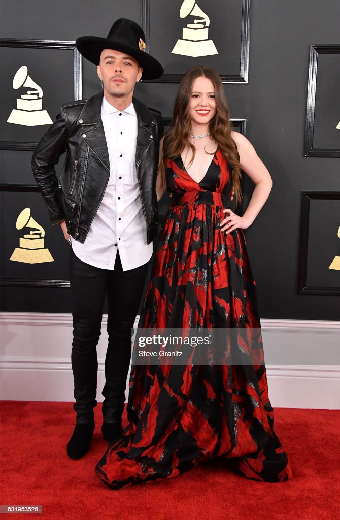 Musicians Jesse Huerta (L) and Joy Huerta of Jesse & Joy attend The 59th GRAMMY Awards at STAPLES Center on February 12, 2017 in Los Angeles, California.