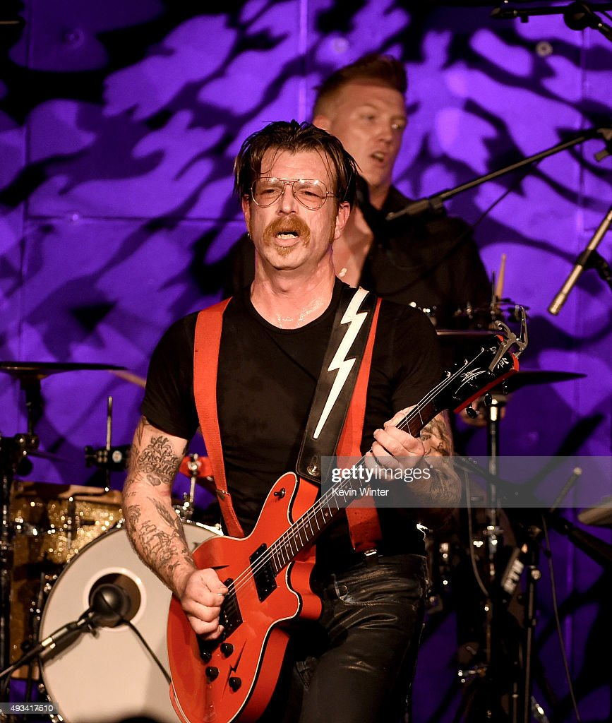 Musicians Jesse Hughes (L) and Josh Homme of Eagles of Death Metal perform at the Teragram Ballroom on October 19, 2015 in Los Angeles, California.