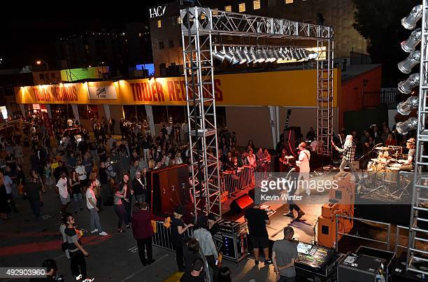Musicians Jesse Hughes Dave Catching and Matt McJunkins of Eagles of Death Metal perform at the after party for the premiere of Gravitas Ventures'...