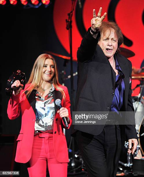 Musicians Jesse Money and Eddie Money perform on stage during the iHeart80s Party 2017 at SAP Center on January 28 2017 in San Jose California