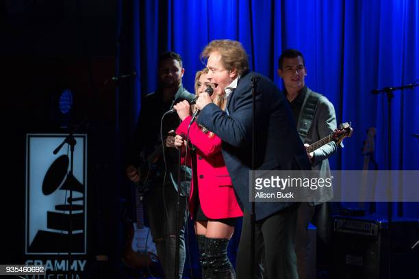 Musicians Jesse Money and Eddie Money perform onstage during An Evening With Eddie Money at The GRAMMY Museum on March 20, 2018 in Los Angeles,...