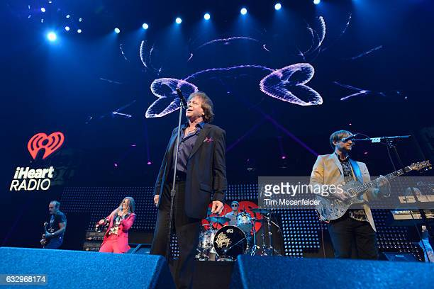 Musicians Jesse Money Eddie Money and Desmond Money perform on stage during the iHeart80s Party 2017 at SAP Center on January 28 2017 in San Jose...