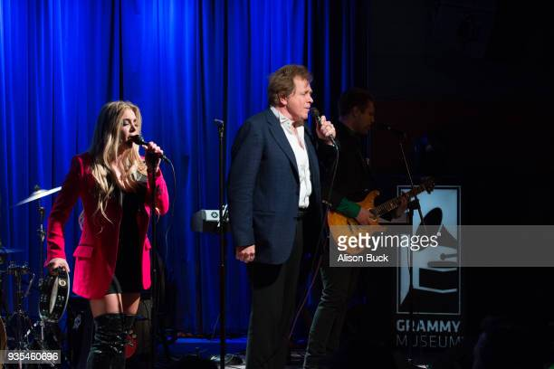 Musicians Jesse Money, Eddie Money and Dez Money perform onstage during An Evening With Eddie Money at The GRAMMY Museum on March 20, 2018 in Los...