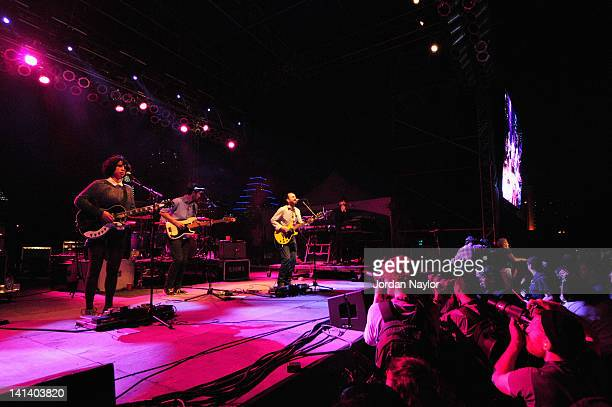 Musicians Jessica Dobson Joe Plummer Yuuki Matthews James Mercer and Richard Swift of The Shins perform onstage during the 2012 SXSW Music Film...