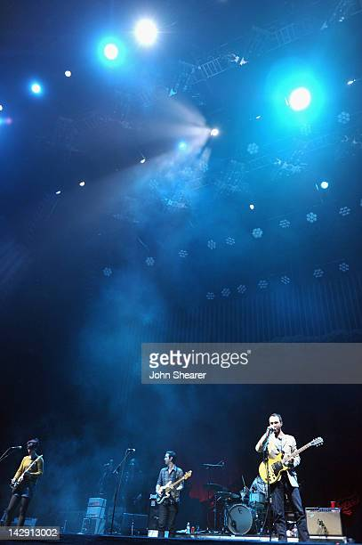 Musicians Jessica Dobson Yuuki Matthews and James Mercer of The Shins perform during Day 2 of the 2012 Coachella Valley Music Arts Festival held at...