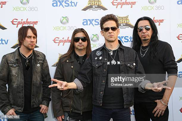Musicians Jessie Farnsworth Mike Mushok Jason Newsted and Jesus Mendez Jr of Newsted arrive at the 5th Annual Revolver Golden Gods awards show at...