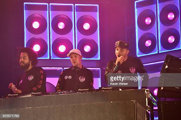 Musicians Jillionaire Diplo and Walshy Fire of Major Lazer perform onstage during day 3 of the 2016 Coachella Valley Music And Arts Festival Weekend...