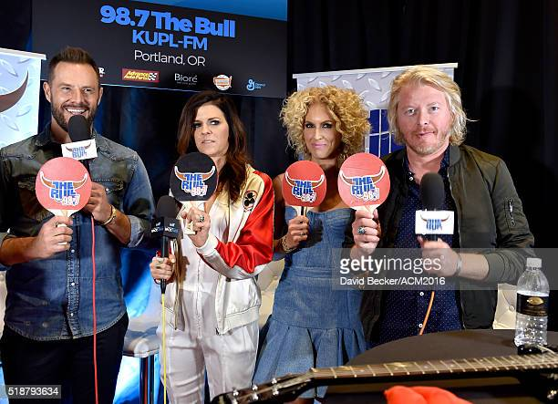 Musicians Jimi Westbrook Karen Fairchild Kimberly Schlapman and Philip Sweet of Little Big Town attend Westwood One Presents #WWOBackstage @ 51st...