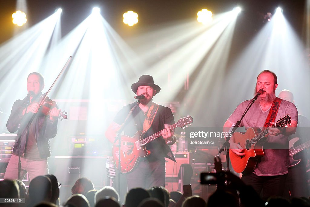 Musicians Jimmy De Martini, Zac Brown and John Driskell Hopkins of the Zac Brown Band perform at Bleacher Report's 'Bleacher Ball' presented by go90 at The Mezzanine prior to Sunday's big game on February 5, 2016 in San Francisco, California.