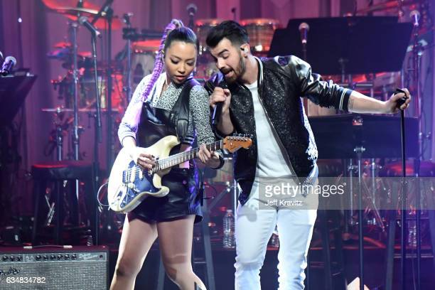 Musicians JinJoo Lee and Joe Jonas of DNCE perform onstage during the 2017 PreGRAMMY Gala And Salute to Industry Icons Honoring Debra Lee at The...