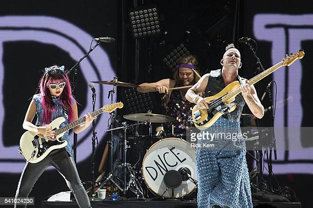 Musicians JinJoo Lee Jack Lawless and Cole Whittle of DNCE perform in concert at the Frank Erwin Center on June 17 2016 in Austin Texas